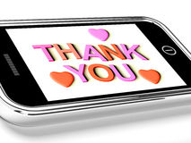 Thank You And Hearts Message As Royalty Free Stock Photos