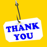 Thank You On Hook Means Gratefulness And. Thank You On Hook Meaning Gratefulness Appreciation And Gratitude Stock Image