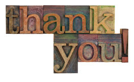 Thank You In Letterpress Type Royalty Free Stock Photo