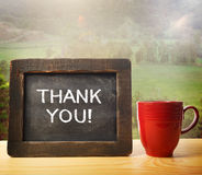 Thank You!. Thank you inscribed on chalkboard in rustic style stock photography