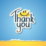 Thank you. Inscription on paper sticker, vector illustration vector illustration