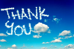 Thank you. Interesting cloudscape and clear sky with thank you letters stock photography