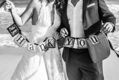 Thank You. Just married thank you sign Stock Photos