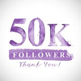 Thank you 50 K followers card for Social Networks. Vector watercolor card design. Thank you 10 K followers card for Social Networks. Watercoloe numbers and stock illustration