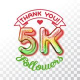 Thank you 5k followers. Color Glass digits template of thankfulness to followers on transparent background. Suitable for any social channels. Vector illustration vector illustration