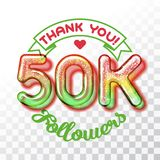 Thank you 50k followers. Color Glass digits template of thankfulness to followers on transparent background. Suitable for any social channels. Vector Royalty Free Stock Photos