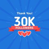 Thank you 30000 or 30k followers. Congratulation card. Web Social media concept. Blogger celebrates a many large number. Of subscribers stock illustration