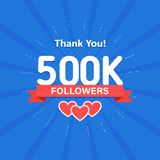 Thank you 500000 or 500k followers. Congratulation card. Web Social media concept. Blogger celebrates a many large. Number of subscribers stock illustration