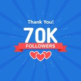 Thank you 70000 or 70k followers. Congratulation card. Web Social media concept. Blogger celebrates a many large number. Of subscribers vector illustration