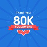 Thank you 80000 or 80k followers. Congratulation card. Web Social media concept. Blogger celebrates a many large number. Of subscribers vector illustration