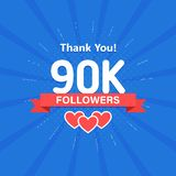 Thank you 90000 or 90k followers. Congratulation card. Web Social media concept. Blogger celebrates a many large number. Of subscribers royalty free illustration