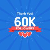 Thank you 60000 or 60k followers. Congratulation card. Web Social media concept. Blogger celebrates a many large number. Of subscribers vector illustration