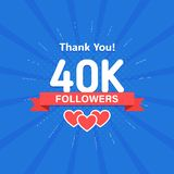 Thank you 40000 or 40k followers. Congratulation card. Web Social media concept. Blogger celebrates a many large number. Of subscribers royalty free illustration