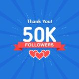 Thank you 50000 or 50k followers. Congratulation card. Web Social media concept. Blogger celebrates a many large number. Of subscribers vector illustration