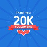 Thank you 20000 or 20k followers. Congratulation card. Web Social media concept. Blogger celebrates a many large number. Of subscribers stock illustration