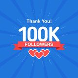 Thank you 100000 or 100k followers. Congratulation card. Web Social media concept. Blogger celebrates a many large. Number of subscribers vector illustration