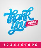 Thank you 200K followers. Editable vector banner for social media with brush lettering on isolated background. Vector stock image
