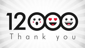 Thank you 12k followers label. Thank you 12000k followers logotype. Congratulating black and white colours networking thanks, net friends abstract image Stock Illustration