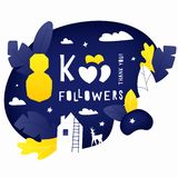 Thank you 8K followers post. Vector illustration of 8k subscribers celebration banner with house, leaves and deer silhouettes. Hand drawing lettering composition vector illustration