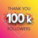 Thank you, 100k followers. Spectrum card with confetti. Thank you, 100k followers. Spectrum card with confetti for social network. Vector background royalty free illustration