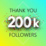 Thank you, 200k followers. Spectrum card with confetti. Thank you, 200k followers. Spectrum card with confetti for social network. Vector background royalty free illustration