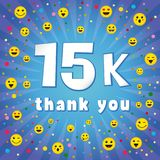 Thank you 15 000 k followers. Thank you 15000k followers. Congratulating colorful online thanks, image for net friends, customers 15 000k likes. Isolated sign Stock Illustration