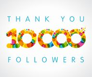 Thank you 10000k multicolored logotype. 10k followers numbers. Congratulating multicolored thanks image net friends likes, % percent off discount coloured round vector illustration