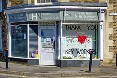 Thank You Key Workers message in the window of a hairand nail care salon