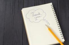 Thank you keyword and pencil Royalty Free Stock Image