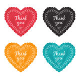 Thank you label set. Vector thank you label with heart Stock Photos