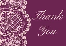 Thank you lace card. Thank you card with pink lace border on red background stock illustration