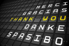 Thank you in languages on black mechanical board Stock Photography