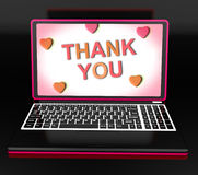 Thank You On Laptop Shows Appreciation Thanks And Gratefulness Royalty Free Stock Photo
