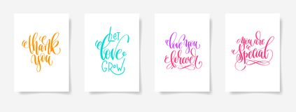 Thank you, let love grow, love you forever, you are special. Four posters set to valentines day design, calligraphy vector illustration collection Royalty Free Stock Photography