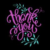 Thank you, lettering. Black background, glitter, graphic doodles. Thank you, lettering. Design with pink glitter. The basis for the design Stock Image