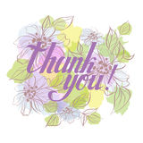 Thank you, lettering,. Hand drawing. Vector illustration Stock Photography