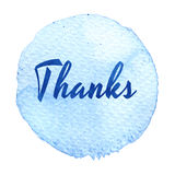 Thank you lettering on hand drawn abstract colorful textured background. Blue watercolor circle. Royalty Free Stock Photo