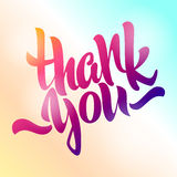 Thank you lettering. Hand written. Modern hand lettering on a co Royalty Free Stock Photography