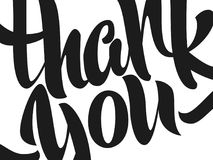 Thank you lettering. Hand written Thank you poster. Modern hand Stock Photo