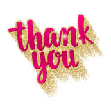 Thank you. Lettering handwritten brush calligraphy for social media contests and special offer. Stock Image