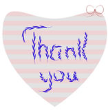 Thank you. Lettering Thank you heart with bow Royalty Free Stock Image