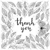 Thank you - lettering and leafs frame vector Stock Photo