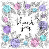 Thank you - lettering and leafs frame vector Stock Image