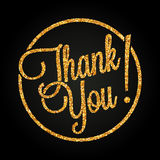 Thank you lettering made of golden hearts Stock Photo