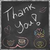 Thank You Lettering Message handwriting on blackbo Stock Photos