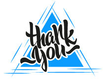 Thank you lettering. Modern calligraphy on a triangle background Royalty Free Stock Photo