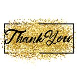 Thank You Lettering over Gold. Vector Illustration o. F Calligraphy with Golden Sparkle Decoration Stock Photo