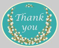 Thank you lettering quote card with willow twigs. Vector illustration. Decorative colorful card, symbol of gratitude with floral background with text. Template Royalty Free Stock Images