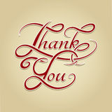 Thank You lettering retro calligraphy Stock Image