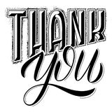 Thank you lettering. Design to greeting card, poster, t-shit stock illustration